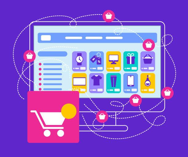 ilustrações de stock, clip art, desenhos animados e ícones de shopcart stand at big monitor with internet app - online shopping