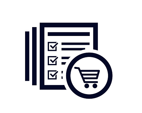 Shoping cart icon with document list with tick check marks