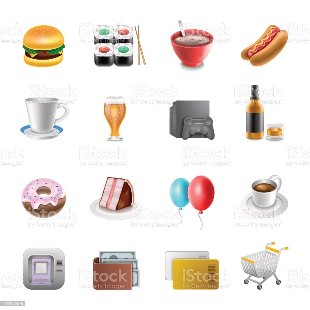 Shoping market Icons vector art illustration