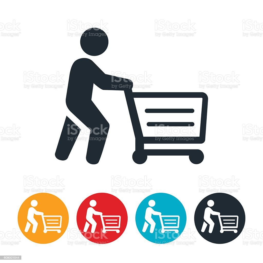 Shopper Pushing Shopping Cart Icon vector art illustration