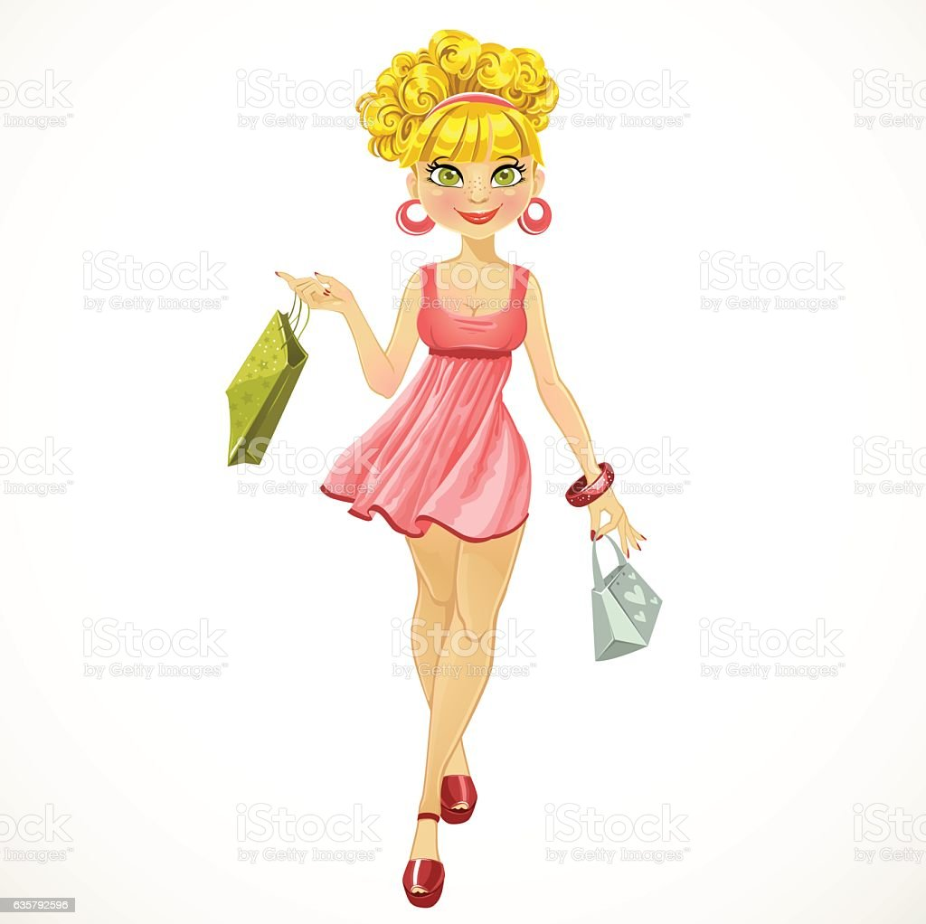 shopper woman in a pink dress vector art illustration