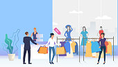 Shoppers choosing and buying clothes in shop. Fashion outlet, boutique concept. Vector illustration can be used for topics like business, shopping, sale