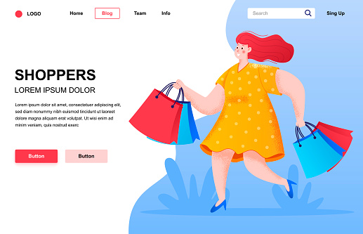 Shoppers flat landing page composition.