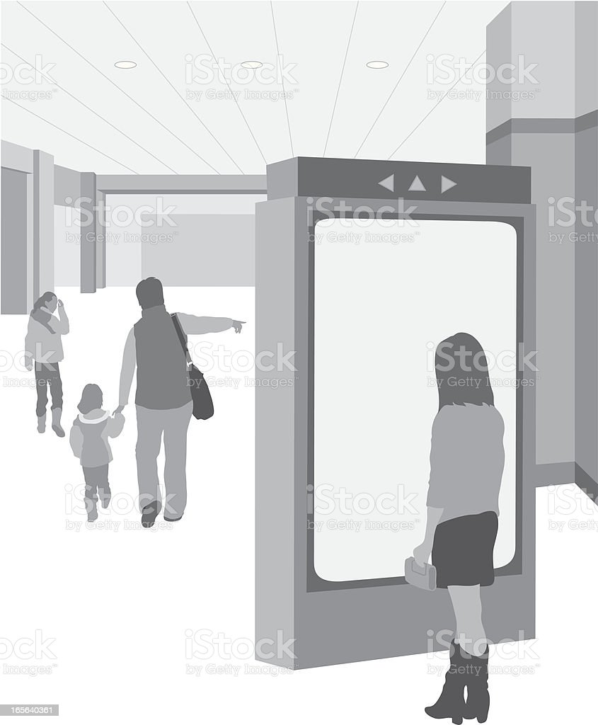 Shoppers graphic walking at the mall royalty-free stock vector art