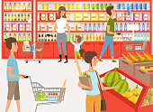 Shoppers in supermarket. Background illustrations of peoples near shelves of store. Supermarket store with shopper, market grocery vector