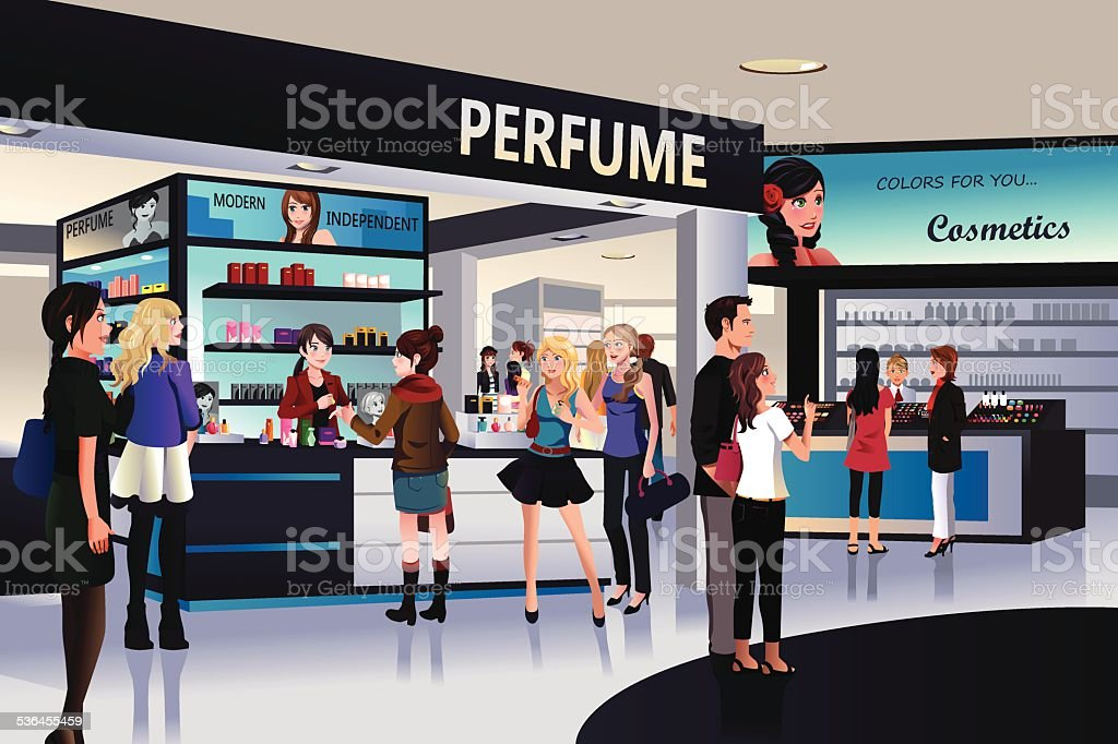 Shoppers shopping for cosmetic in a department store vector art illustration