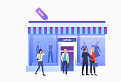 Shoppers walking near shop front. People choosing and buying clothes in shop. Fashion outlet, boutique concept. Vector illustration can be used for topics like business, shopping, sale