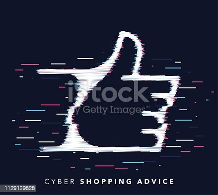 Glitch effect vector icon illustration of shopping advice with abstract background.