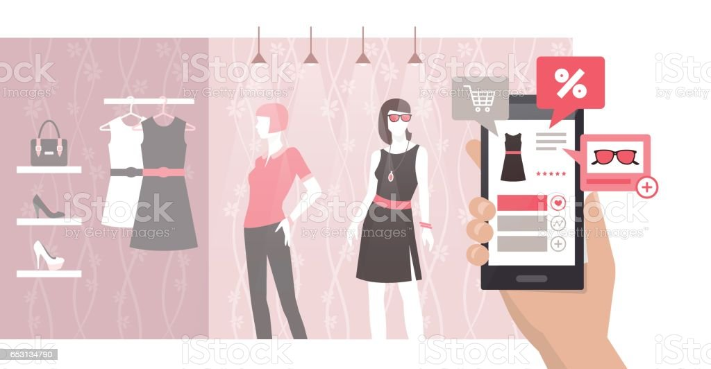 Shopping and augmented reality vector art illustration