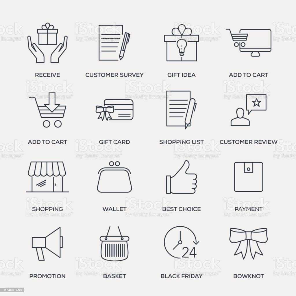 Shopping and Buying Icon Set - Line Series royalty-free shopping and buying icon set line series stock vector art & more images of basket