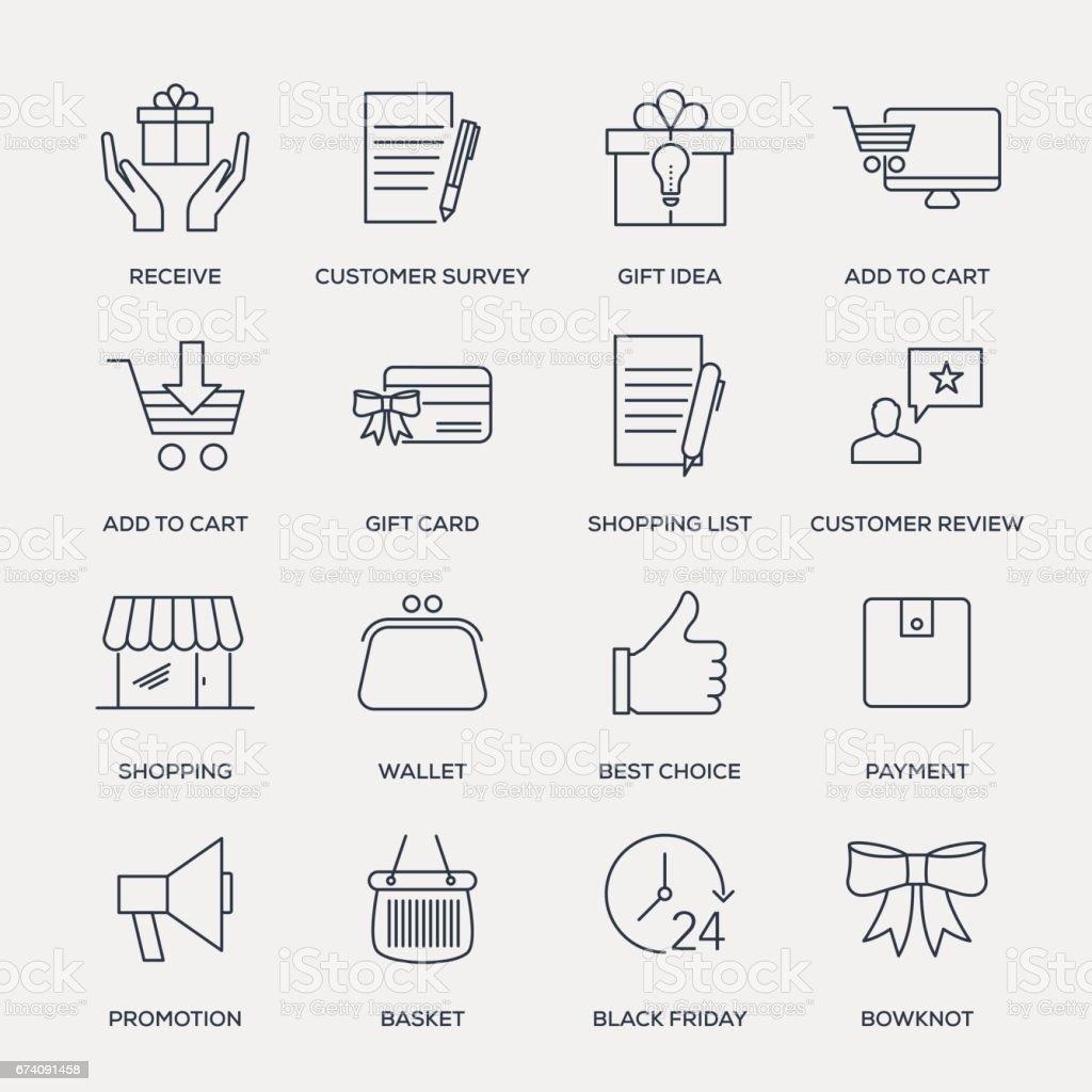 Boutiques et acheter icône Set-Série de ligne - Illustration vectorielle