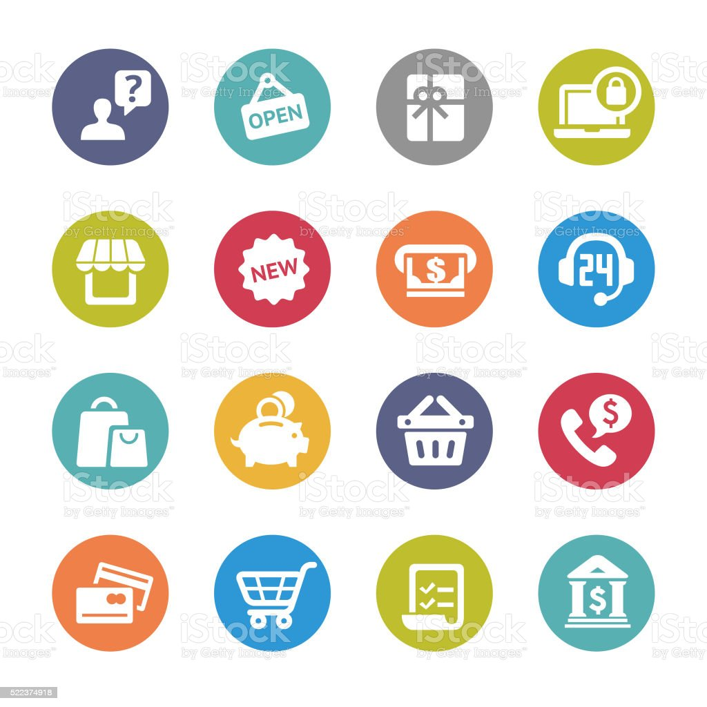 Shopping and Buying Icons - Circle Series vector art illustration