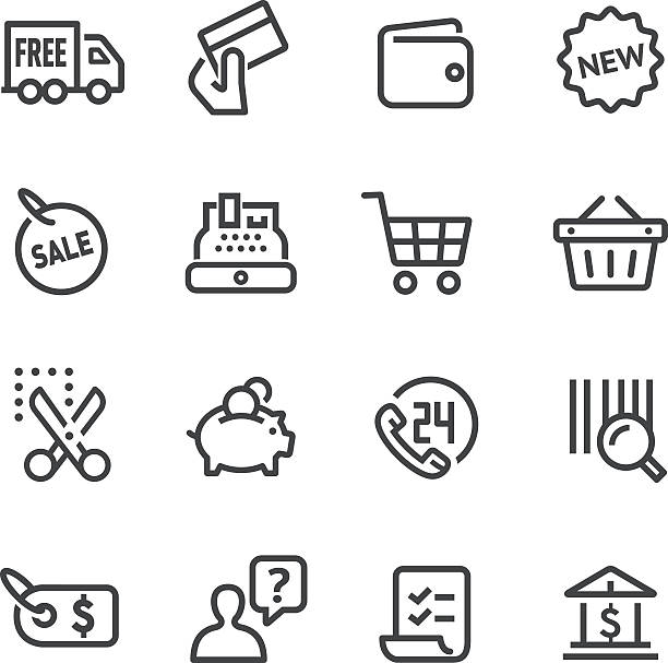 Shopping and Buying Icons Set - Line Series View All: shopping list stock illustrations