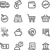 Shopping and Buying Icons Set - Line Series