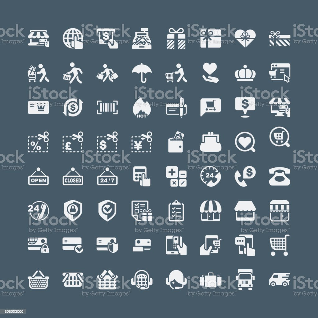 Shopping and buying icons vector art illustration