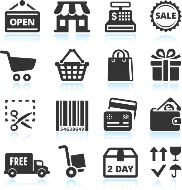 shopping and commerce black & white vector icon set - small business stock illustrations