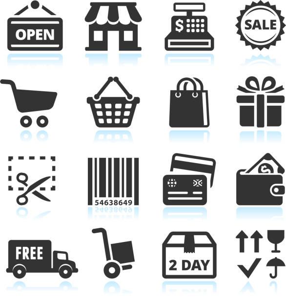 шоппинга и коммерции черный & белый вектор икона set - small business stock illustrations