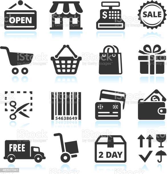 Shopping And Commerce Black White Vector Icon Set Stok Vektör Sanatı & Alışveriş'nin Daha Fazla Görseli