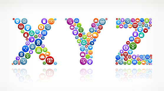 XYZ Shopping and Commerce Colorful Button Pattern