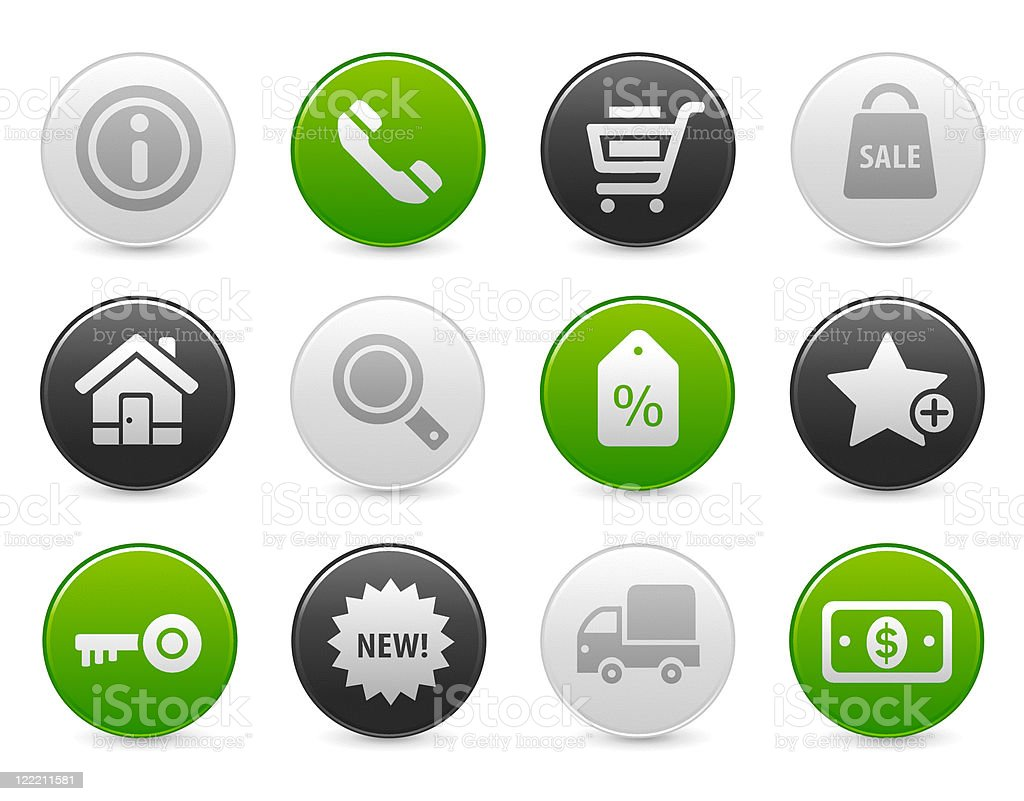 Shopping and commercial | Satin round buttons royalty-free stock vector art