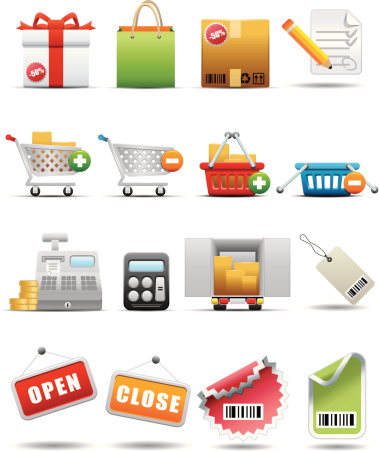 Shopping And Consumerism Icon Set Premium Series Stock Illustration - Download Image Now