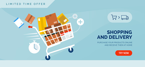 Shopping and delivery promotional sale banner with shopping cart