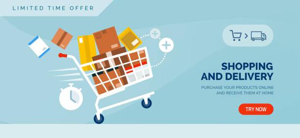 stockillustraties, clipart, cartoons en iconen met winkelen en levering promotionele verkoop banner met winkelwagen - shopping cart