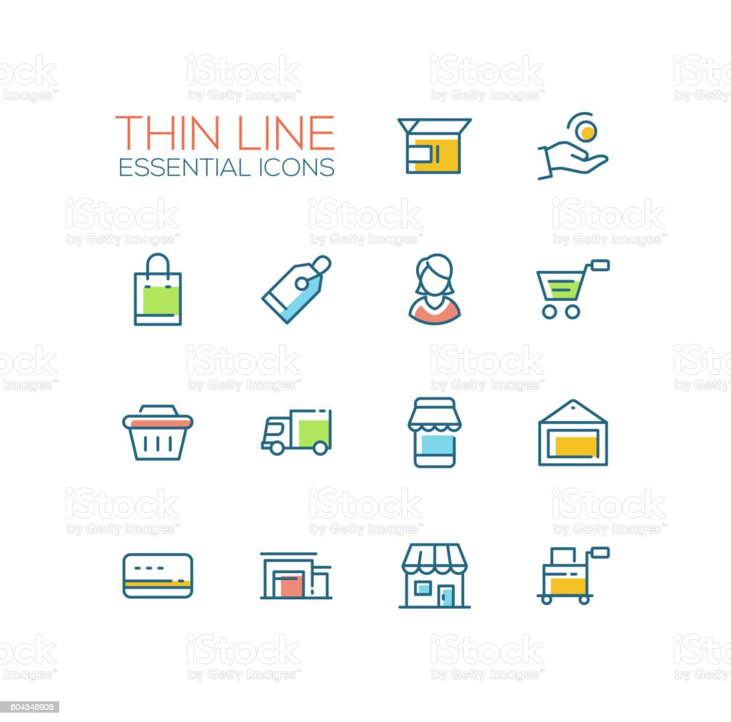 Shopping and delivery symbols thick line design icons set stock shopping and delivery symbols thick line design icons set royalty free shopping and delivery reheart Images