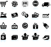 Shopping and e-commerce black & white vector icon set