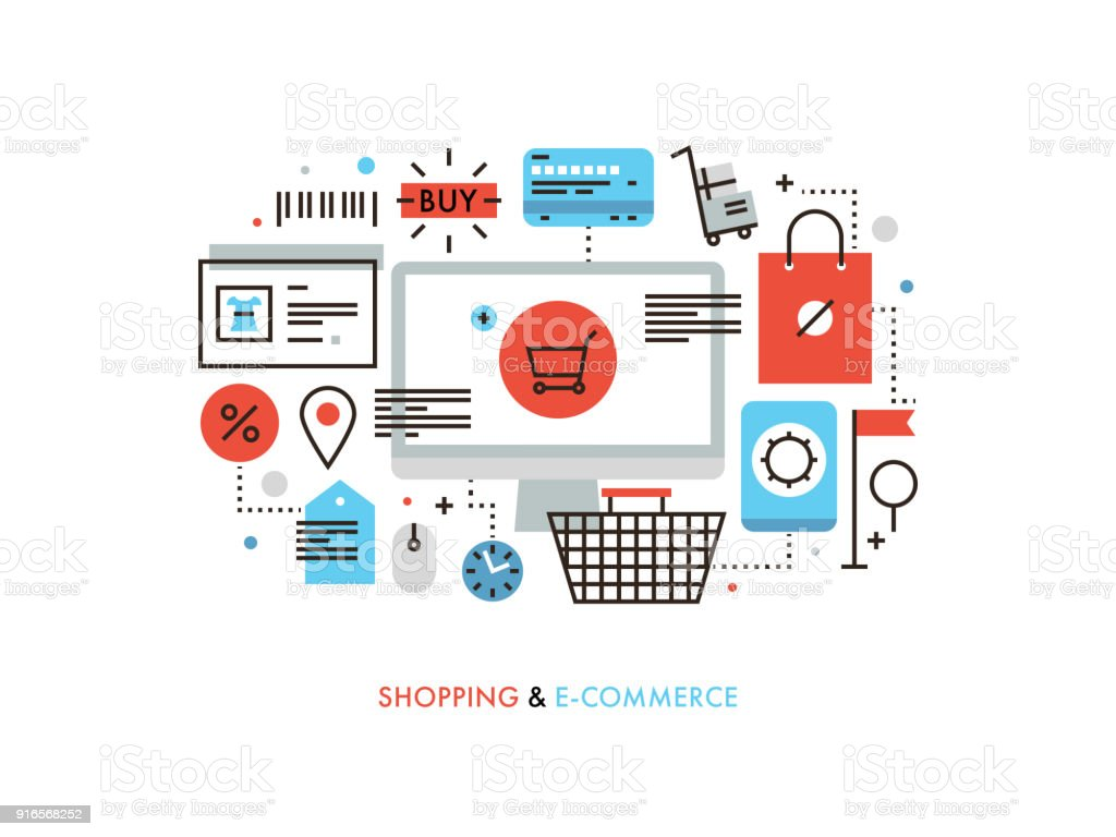 Shopping und e-Commerce flache Linie illustration – Vektorgrafik