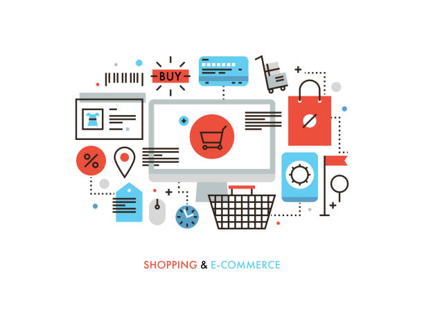 Shopping and e-commerce flat line illustration Thin line flat design of e-commerce website, purchasing goods via internet, online shopping cart with products, solution for customer. Modern vector illustration concept, isolated on white background. online shopping stock illustrations
