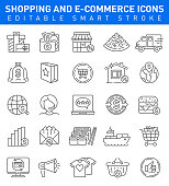 E-commerce vector icons with gift, discount, shopping and tax form symbols