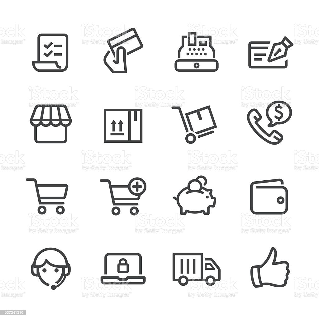 Shopping and E-commerce Icons - Line Series vector art illustration