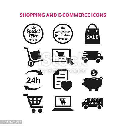 Shopping and e-commerce icons on white background. Vector Illustration