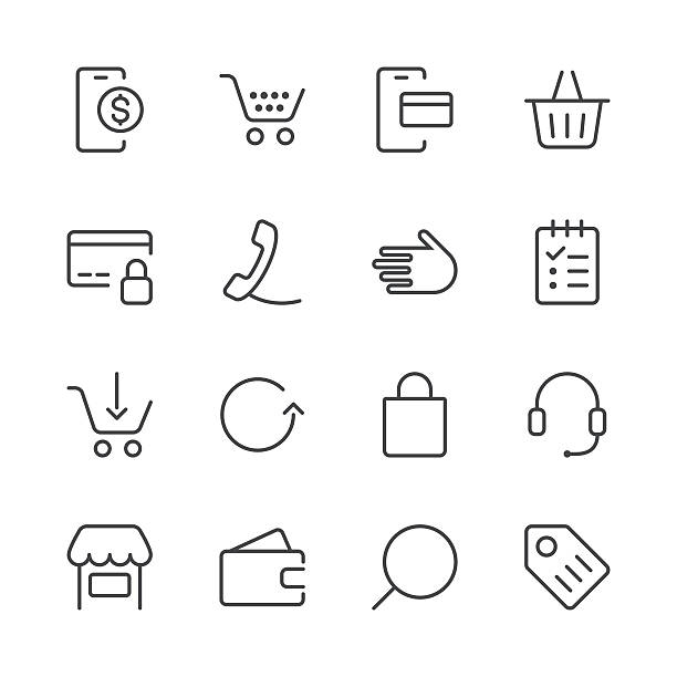 stockillustraties, clipart, cartoons en iconen met shopping and e-commerce icons set 1 | black line series - mobiele betaling