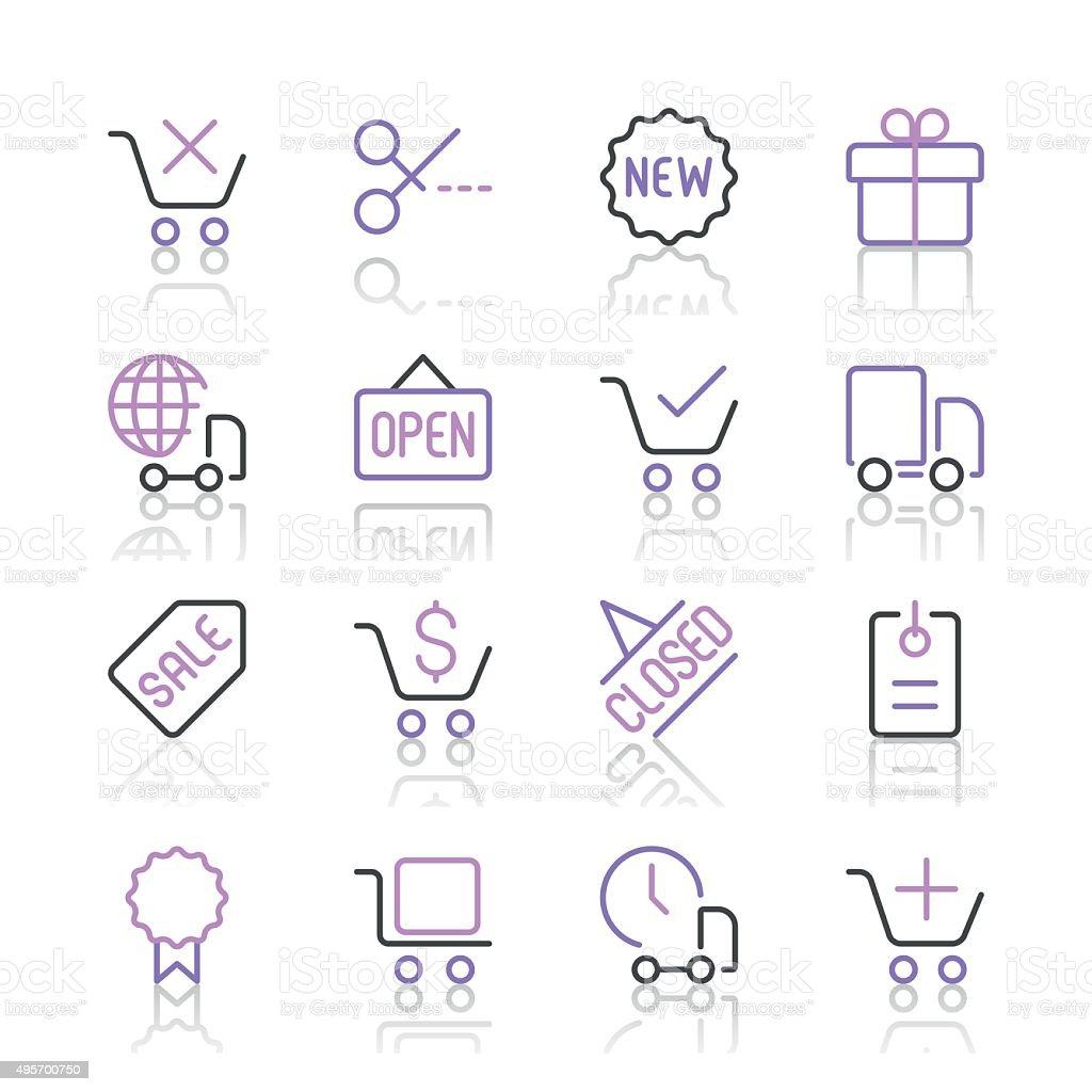 1529e815c1 Shopping E-Commerce E icone set 2/linea viola series shopping ecommerce e  icone