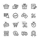Shopping and E-commerce Icons Set - Line Series