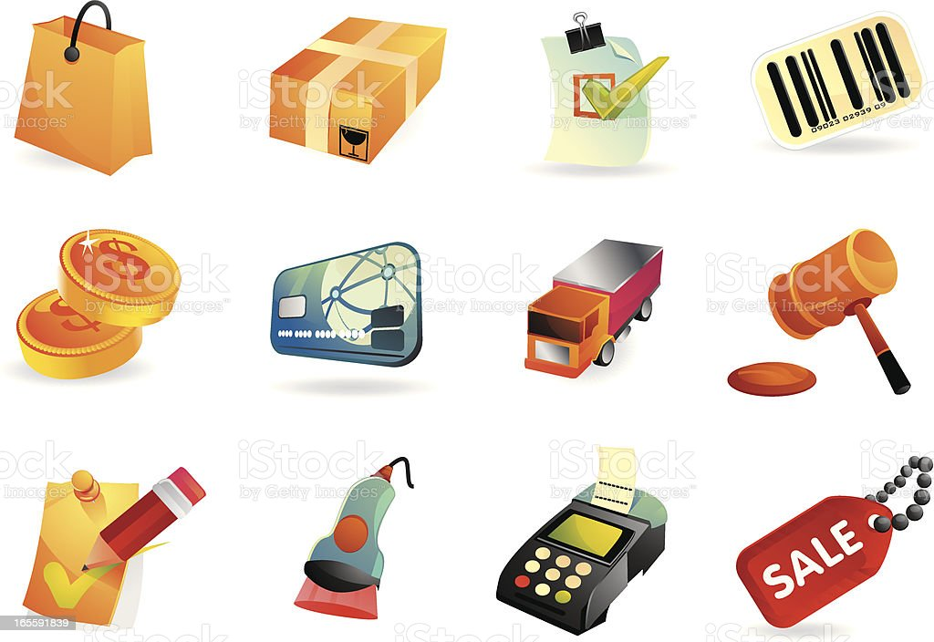 Shopping and E-commerce icons royalty-free stock vector art