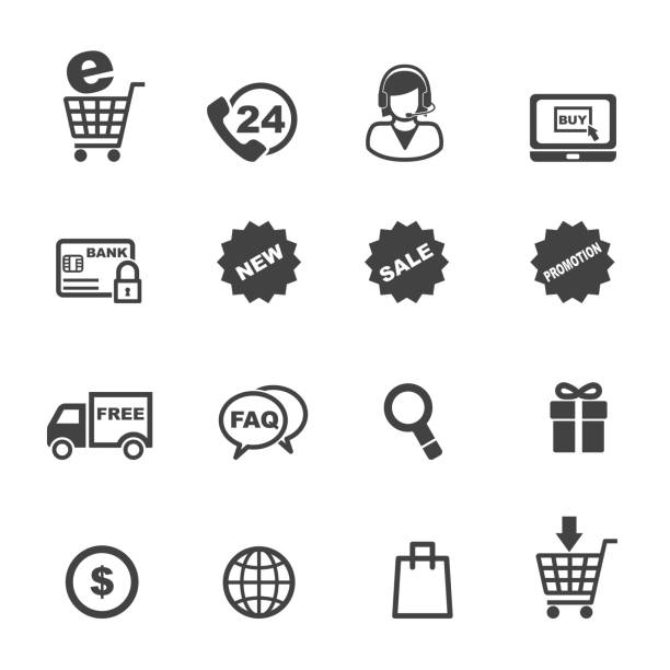 shopping and e-commerce icons shopping and e-commerce icons, mono vector symbols commercial event stock illustrations