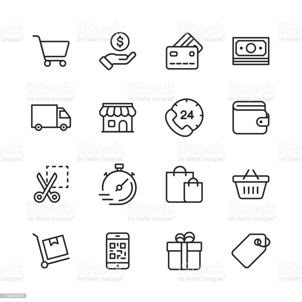 Shopping and E-commerce Line Icons. Editable Stroke. Pixel Perfect. For Mobile and Web. Contains such icons as Credit Card, E-commerce, Online Payments, Shipping, Discount. - Royalty-free 24 Hrs - Frase Curta arte vetorial