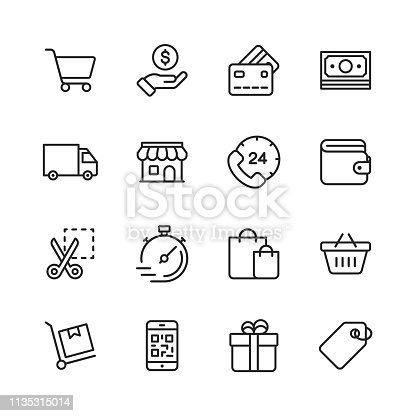 16 Shopping and E-commerce Line Icons.