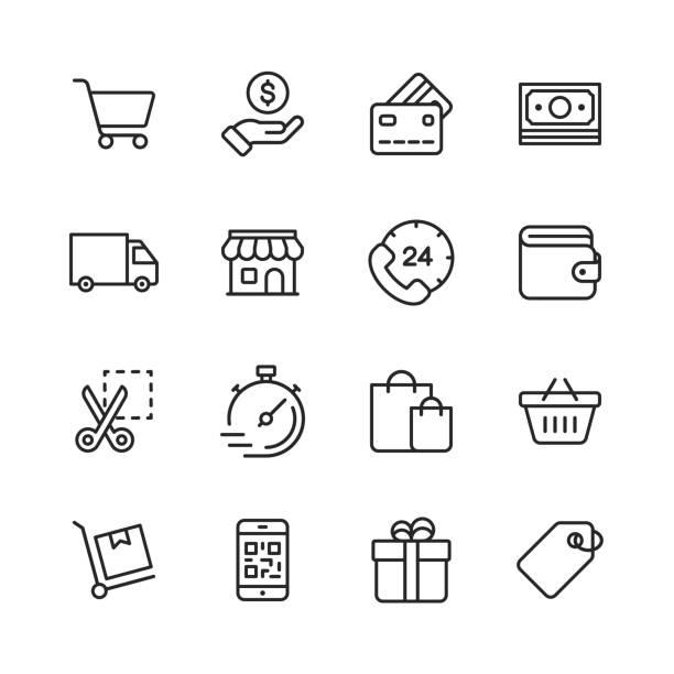 shopping und e-commerce-line-icons. bearbeitbare stroke. pixel perfect. für mobile und web. enthält solche icons wie kreditkarte, e-commerce, online-zahlungen, versand, rabatt. - konsum stock-grafiken, -clipart, -cartoons und -symbole