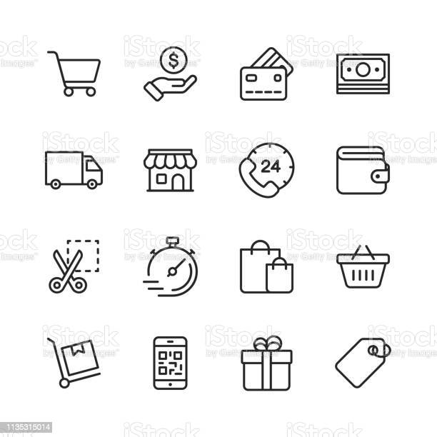 Shopping And Ecommerce Line Icons Editable Stroke Pixel Perfect For Mobile And Web Contains Such Icons As Credit Card Ecommerce Online Payments Shipping Discount - Arte vetorial de stock e mais imagens de 24 Hrs - Frase Curta