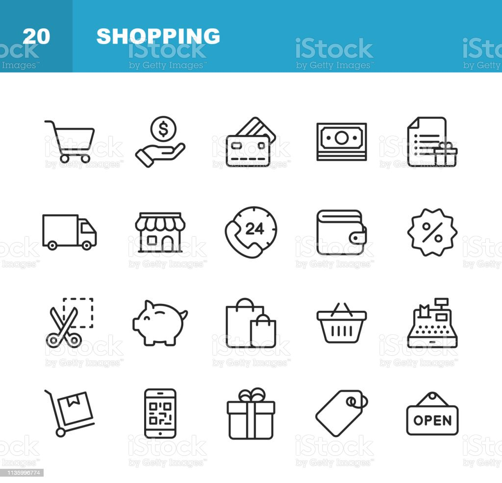 Shopping and E-commerce  Line Icons. Editable Stroke. Pixel Perfect. For Mobile and Web. Contains such icons as Shopping, E-commerce, Payment Method, Piggy Bank, Delivery. - Royalty-free 24 Hrs - Frase Curta arte vetorial