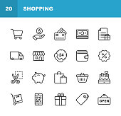 20 Shopping and E-commerce Line Icons. Editable Stroke.