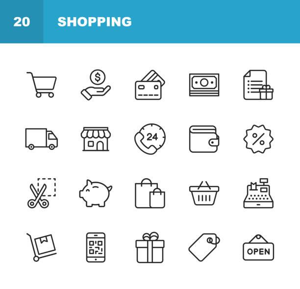 zakupy i e-commerce line ikony. edytowalny obrys. pixel perfect. dla urządzeń mobilnych i sieci web. zawiera takie ikony jak zakupy, handel elektroniczny, metoda płatności, skarbonka, dostawa. - handel detaliczny stock illustrations