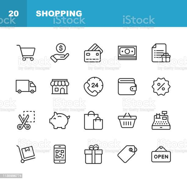 Shopping And Ecommerce Line Icons Editable Stroke Pixel Perfect For Mobile And Web Contains Such Icons As Shopping Ecommerce Payment Method Piggy Bank Delivery - Arte vetorial de stock e mais imagens de 24 Hrs - Frase Curta