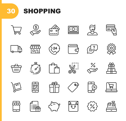 Shopping and E-commerce  Line Icons. Editable Stroke. Pixel Perfect. For Mobile and Web. Contains such icons as Shopping, E-commerce, Payment Method, Piggy Bank, Delivery.