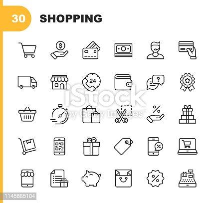 30 Shopping and E-commerce Line Icons. Editable Stroke.