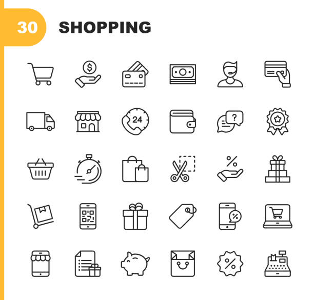 Shopping and E-commerce  Line Icons. Editable Stroke. Pixel Perfect. For Mobile and Web. Contains such icons as Shopping, E-commerce, Payment Method, Piggy Bank, Delivery. 30 Shopping and E-commerce Line Icons. Editable Stroke. personal land vehicle stock illustrations